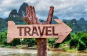 Travel wooden sign — Stock Photo