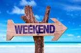 Weekend wooden sign — Stock Photo