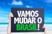 Let's Change Brazil (in Portuguese) card — Stock Photo