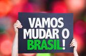 Let's Change Brazil (in Portuguese) card — Stock Photo