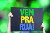 Come to Street (in Portuguese) card — Stock Photo