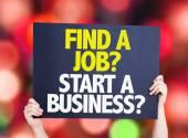 Find a Job? Start a Business? card — Stock Photo