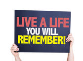 Live a Life You Will Remember card — Stockfoto