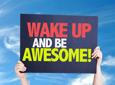 Wake Up and Be Awesome card — Stock Photo