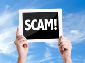 Tablet pc with text Scam! — Stock Photo