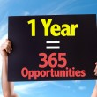 1 Year is equal to 365 Opportunities card — Stock Photo #69423867