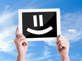 Tablet pc with Smiley Face — Stock Photo
