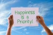 Happiness is a Priority card — 图库照片