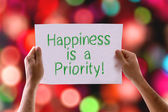 Happiness is a Priority card — Stockfoto