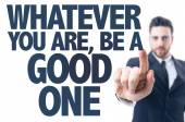 Texto: Quem quer que seja, ser um bom — Fotografia Stock