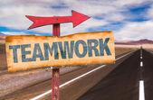 Text :Teamwork  on sign — Stock Photo