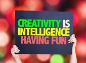 Creativity is Intelligence Having Fun card — Stock Photo