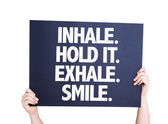 Inhale Hold It Exhale Smile card — Stock Photo