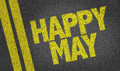 Happy May written on the road — Stock Photo