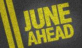 June Ahead text on the road — Stock Photo