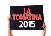 La Tomatina 2015 card — Stock Photo