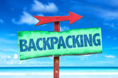Backpacking text sign — Stock Photo
