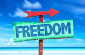 Freedom wooden sign — Stock Photo