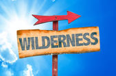 Wilderness wooden sign — Stock Photo