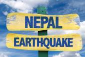 Nepal Earthquake wooden sign — Stock Photo