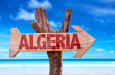Algeria wooden sign with desert road background — Stock Photo