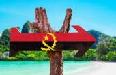 Angola Flag wooden sign — Stock Photo