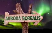 Aurora Borealis wooden sign — Stock Photo