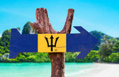 Barbados Flag wooden sign — Stock Photo