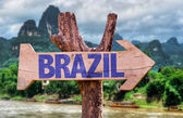 Brazil wooden sign — Stock Photo