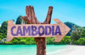 Cambodia wooden sign — Stock Photo