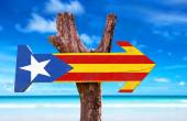 Catalonia Flag wooden sign — Stock Photo