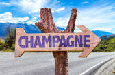 Champagne wooden sign — Stock Photo