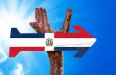 Dominican Republic Flag wooden sign — Stock Photo