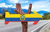 Ecuador Flag wooden sign — Stock Photo