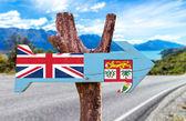 Fiji Flag wooden sign — Stock Photo