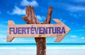 Fuerteventura wooden sign — Stock Photo