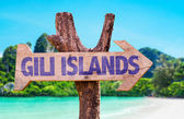 Gili Islands wooden sign — Stock Photo