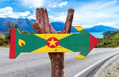 Grenada Flag wooden sign — Stock Photo