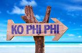 Ko Phi Phi wooden sign — Stock Photo