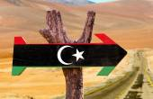Libya Flag wooden sign — Stock Photo