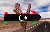 Libya Flag wooden sign — Stock Photo