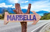 Marbella wooden sign — Stock Photo