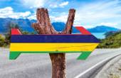 Mauritius Flag wooden sign — Stock Photo