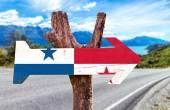 Panama Flag wooden sign — Stock Photo