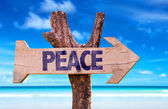 Peace wooden sign — Stock Photo