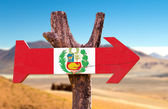 Peru Flag wooden sign — Stock Photo