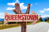 Queenstown wooden sign — Stock Photo