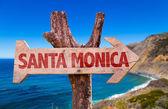 Santa Monica wooden sign — Stock Photo