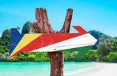 Seychelles Flag wooden sign — Stock Photo