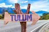 Tulum wooden sign — Stock Photo